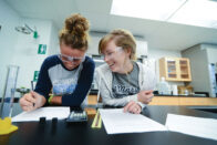 Students working on project in science lab