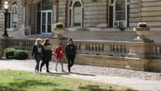 Students walking in front of Guerin Hall