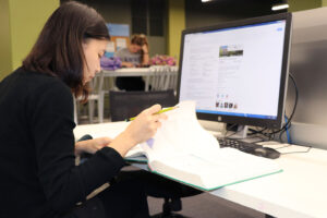 International student studying in the LRC