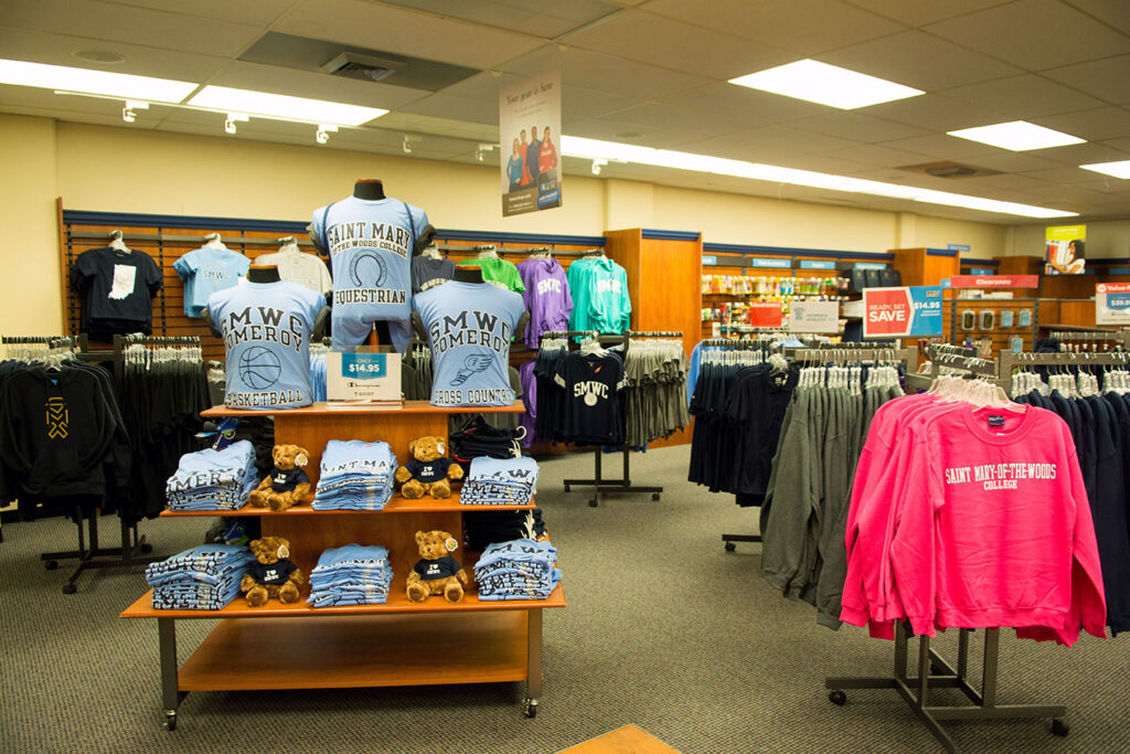 Display of gifts and clothing at the SMWC Bookstore