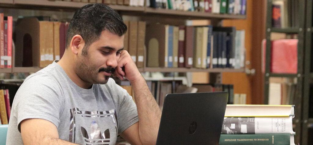 International student using laptop