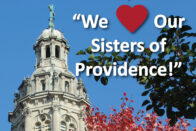 Church of Immaculate Conception with we heart our sisters of providence on top