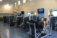 Student working out in the Club 64 gym