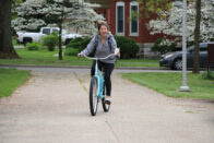Student riding bicycle