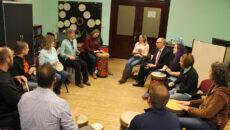graduate students drum circle