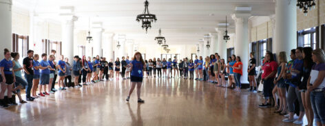 Orientation leaders and new students participating in icebreakers