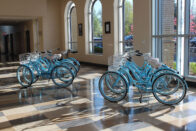 Blue pomeroy bikes in the Knoerle Center