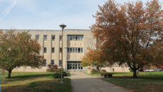 Front of the library during the fall