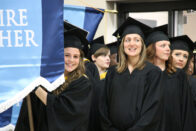 Students walking at commencement