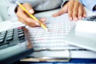 Accountant working on a spreadsheet