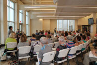 Conference in the atrium of the Knorele Center
