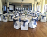 The ballroom set up and decorated for an event