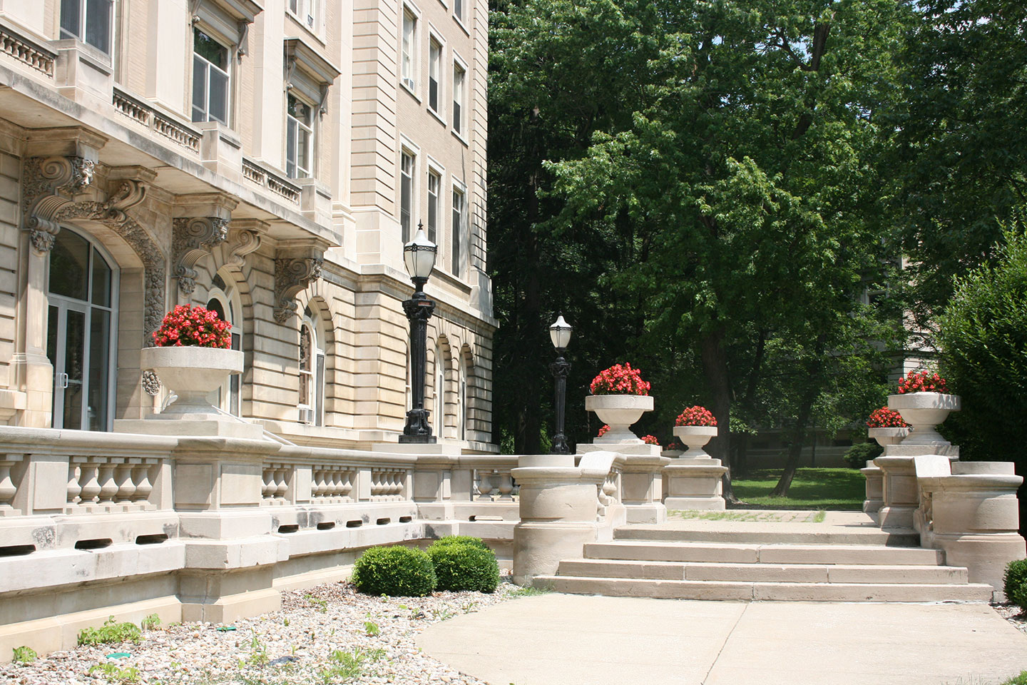 Steps of the Guerin Porch with flowers