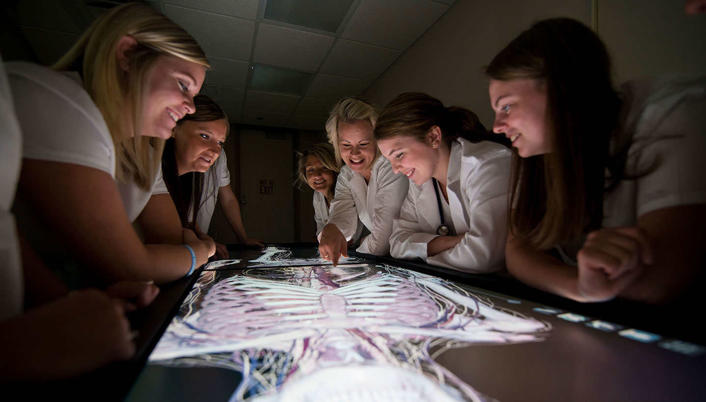 Nursing students looking at a skeleton on a screen