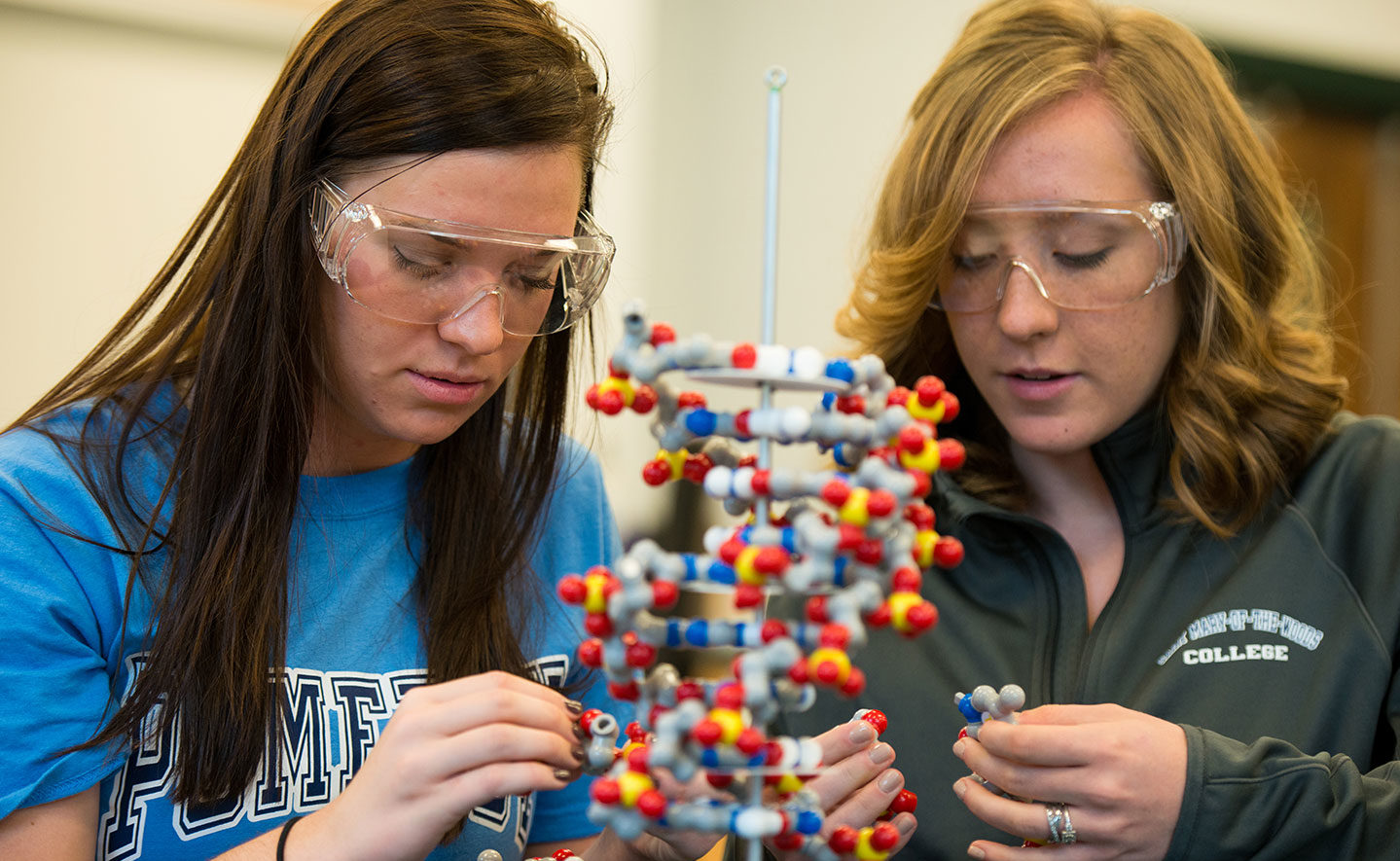 Two students looking at DNA