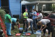 Students working on a missions trip
