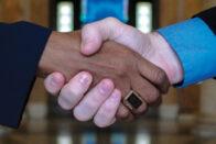 shaking hands in Rotunda