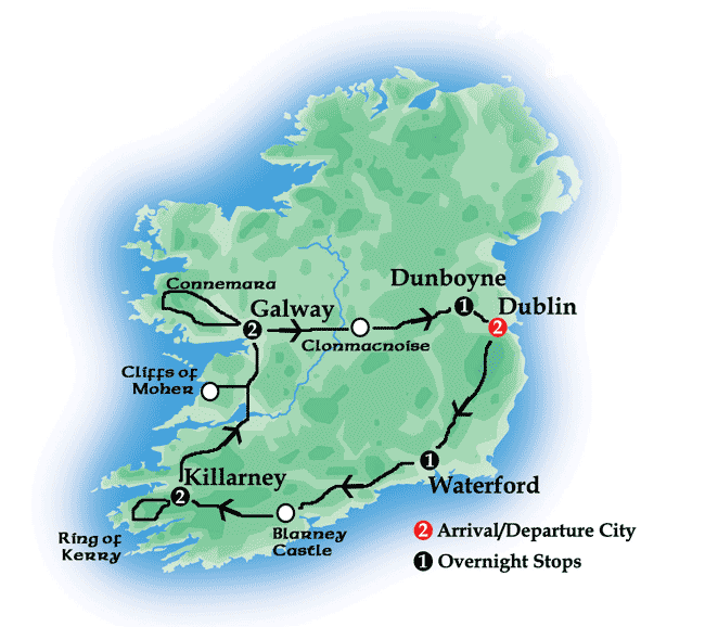 Map Of Ireland For Driving.Saint Mary Of The Woods College Presents Ireland Smwc