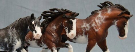 Painted horse sculptures at the Audrey Dixon senior exhibition