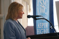 President Dottie L. King speaking at a lectern during the Aspire Higher campaign launch