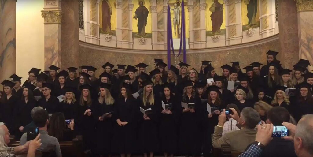 Students singing on Ring Day