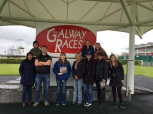Students in the faculty-led trip to Ireland got a behind-the-scenes look of The Galway Racecourse, the premiere racecourse for Thoroughbred flat racing.
