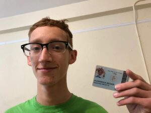 Trindle-Brown holding his old SMWC ID