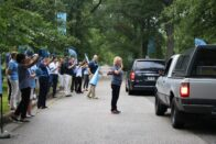 President King and many of the SMWC faculty and staff greet incoming students as they arrive for move-in day.