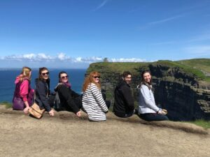 Students Shea Davis, Allison Payonk, Devyn Burns, Shannon Sonderman, Logan Thralls, Kristin Foster at the Cliffs of Moher. Photo Credit: Sara Langenberger.