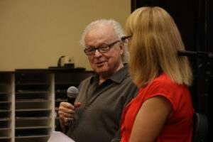 Musician Ron Oates giving advice to students at Saint Mary-of-the-Woods College on Oct. 2.