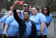 Group of Pomeroy Scholars pose for a selfie.
