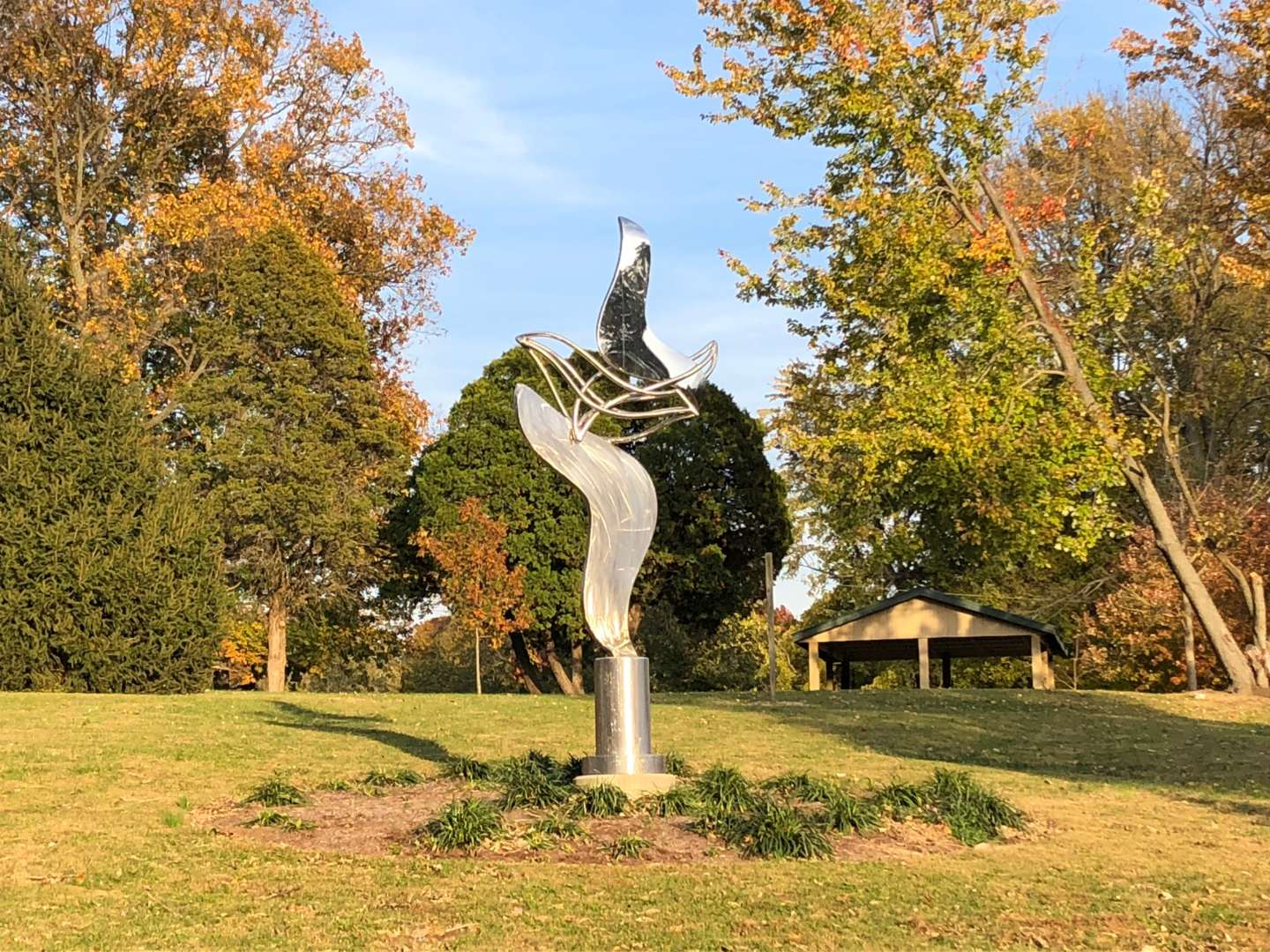 An abstract sculpture in Deming Park