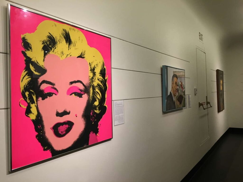 Angled view of the Marilyn Monroe painting by Warhol in the Swope Gallery