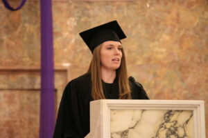 student speaking at Ring Day