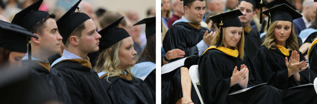Students watching and applauding during the ceremony
