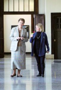 Sister Tomaszewski walking with President King