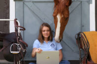 Equine Studies, Jordan and her horse looking at the computer