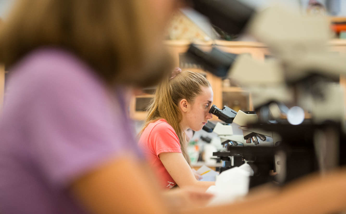 Student in lab focuses on microscope