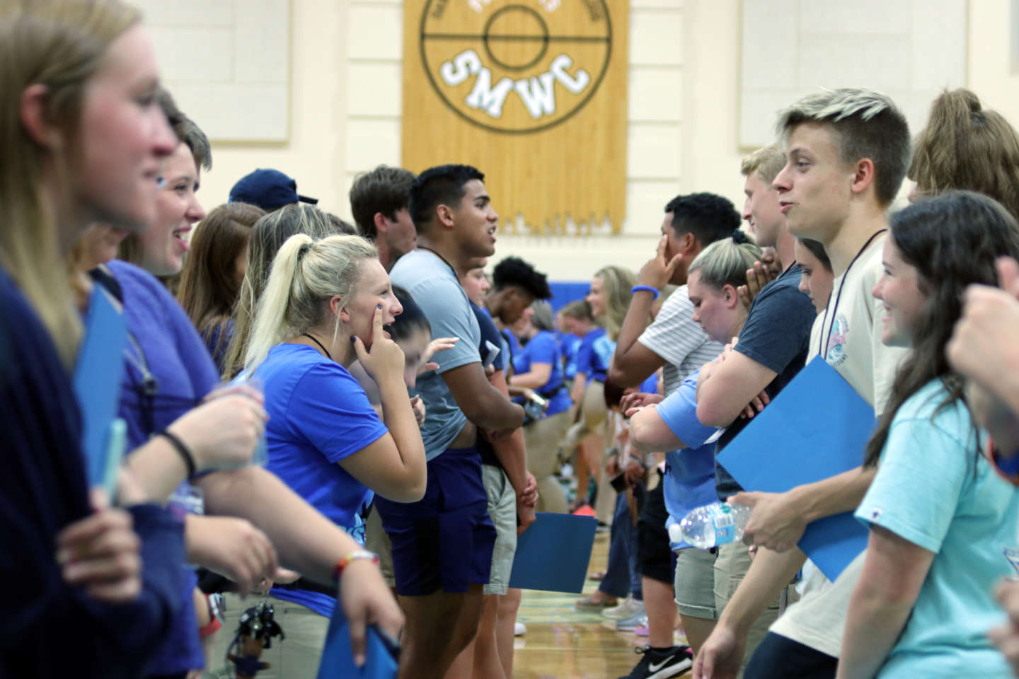 Students doing ice breaker at orientation 2019