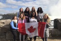 SMWC student group standing in front of Niagara Falls