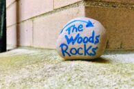 "Painted rock with ""The Woods Rocks"" inscribed on it"