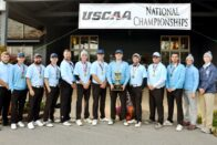 The SMWC men's golf team with their trophy