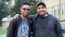 SMWC student with their father during move-in