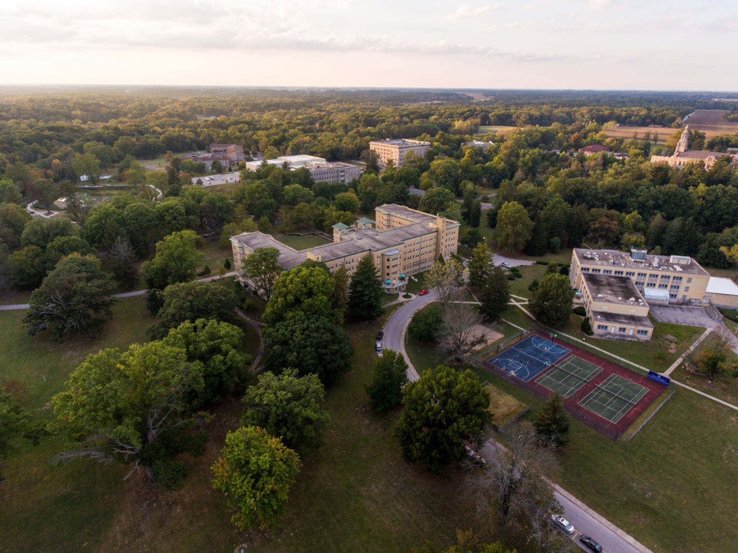 Aerial view of Le Fer Hall from behind