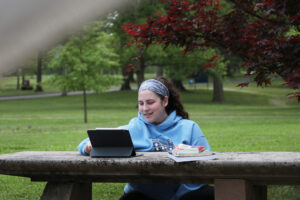 Student studying with iPad