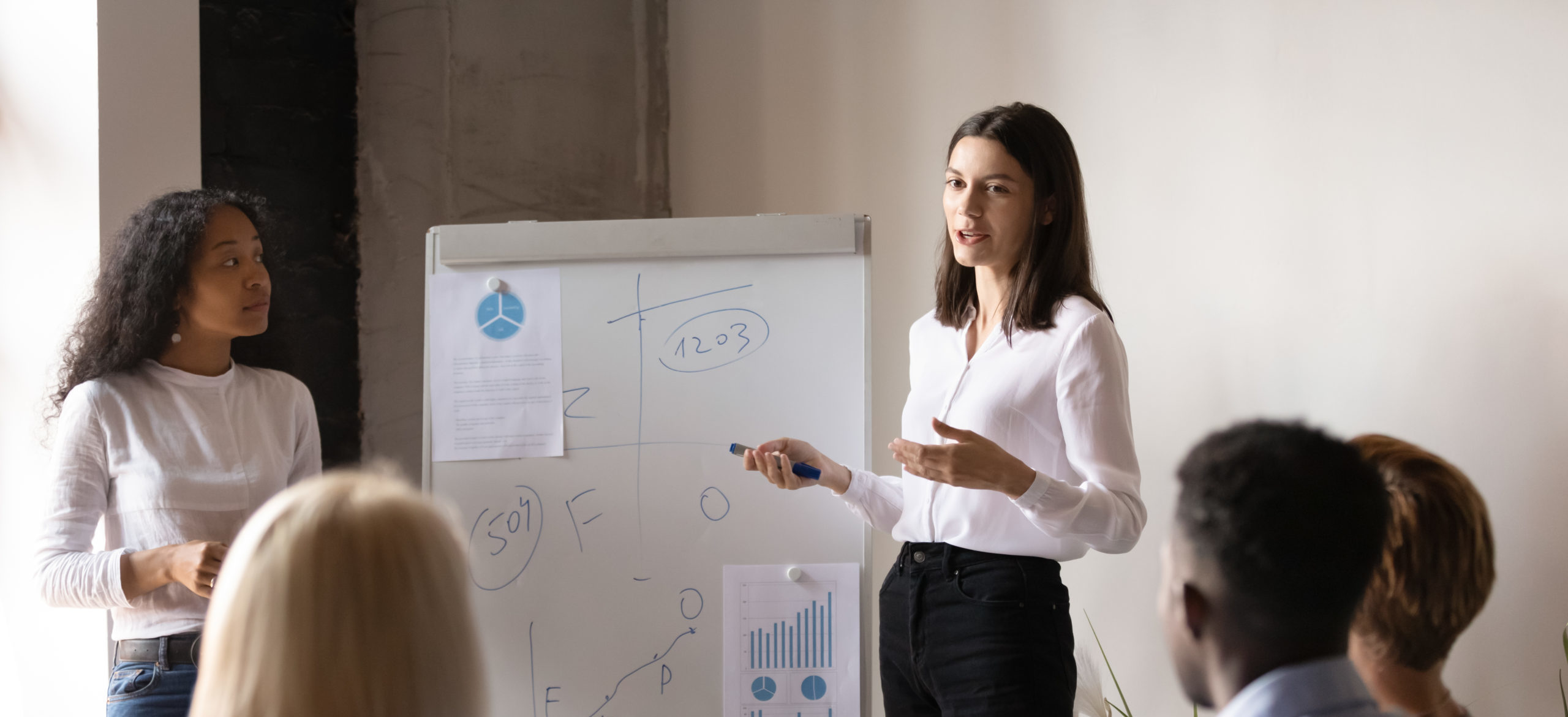 Woman presenting to group of professionals