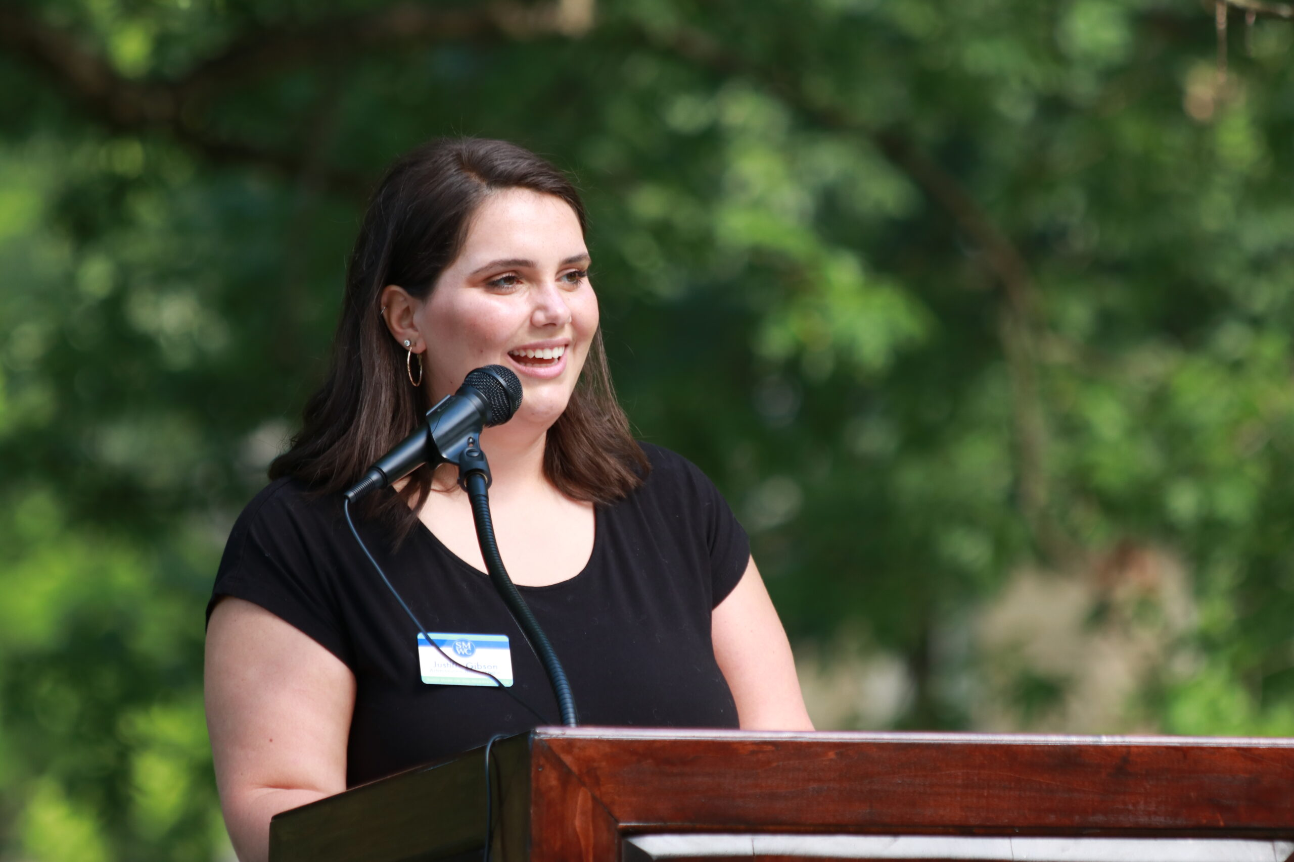 Justine Gibson speaking at the groundbreaking