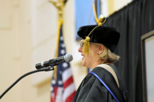 Williams speaking at commencement