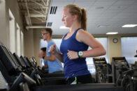 Student exercising on treadmill