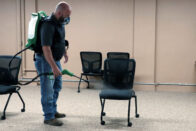 Josh Wood sanitizing chairs
